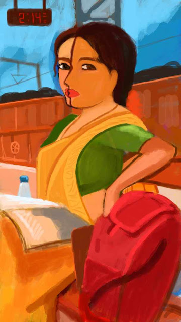 A woman impatiently waiting at railway station - A Quick Painting