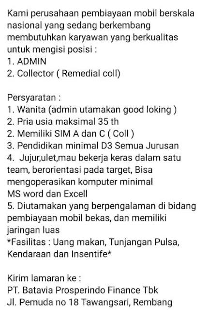 Lowongan Kerja Admin Dan Collector PT Batavia Prosperindo Finance Rembang