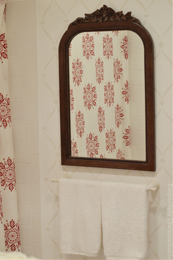 Cottage Style Stenciled Bathroom Wall