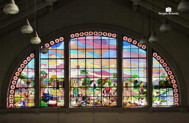Close-up do Vitral Granja - Mercado Municipal de São Paulo - Centro