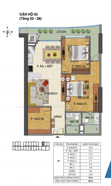 Căn hộ số 03 tòa nhà Trường Thành B- Tràng An Complex