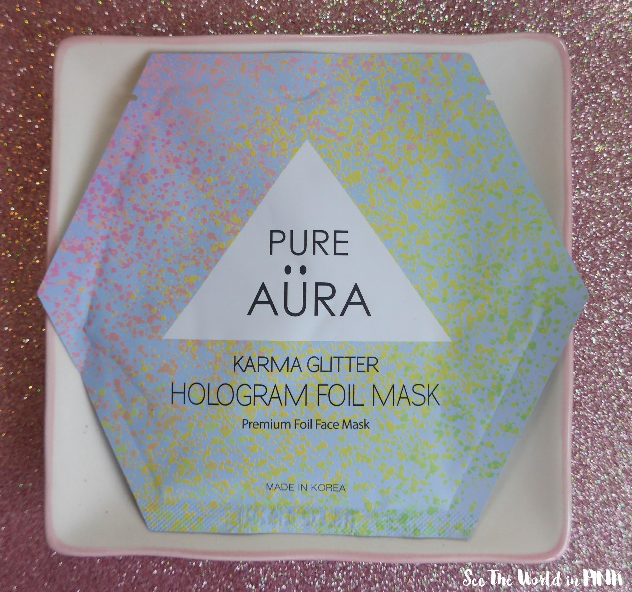 Mask Wednesday - Pure Aura Karma Glitter Hologram Foil Sheet Mask