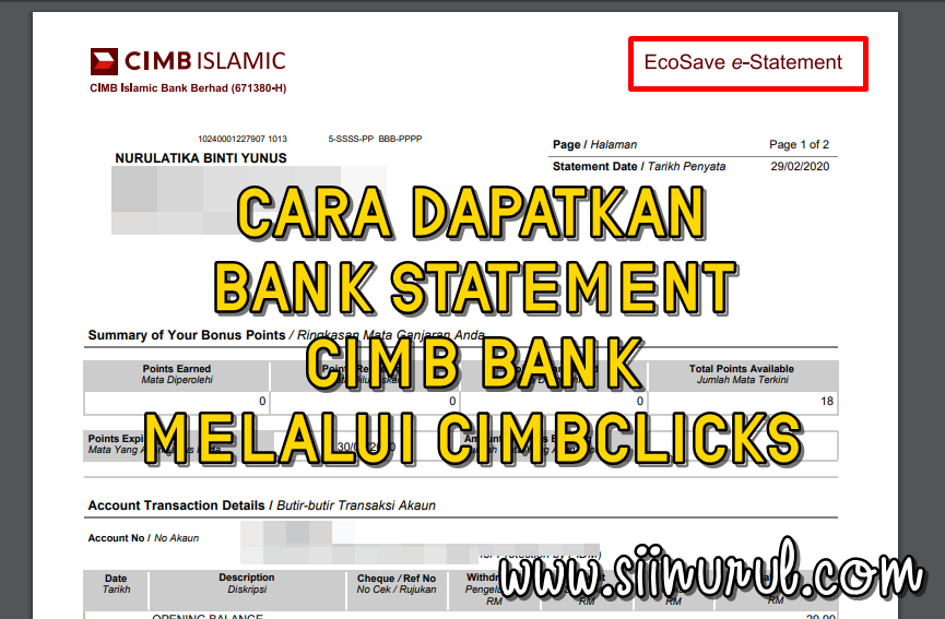 Contoh Salinan Buku Akaun Bank - Surat Permohonan Penyata ...