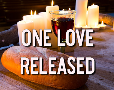 Loaf of bread and cup of wine in front of candles:    One bread, one body, one cup, one call, One faith, one Spirit, present in us all. One prayer, one blessing, one hope, one peace, One church, one people, One love released. 1 Is not this bread we share, The body of our Lord? Is not this wine we drink, The blood of Christ out-poured? 2 I am the bread of life, Eat and you shall live. To those who share this meal, My strength I'll always give. 3 I am the living bread, As Manna from the sky. This bread I give to you, That you may never die. 4 No one will come to me, Unless our God has led. And I shall raise them up, Raise them from the dead!