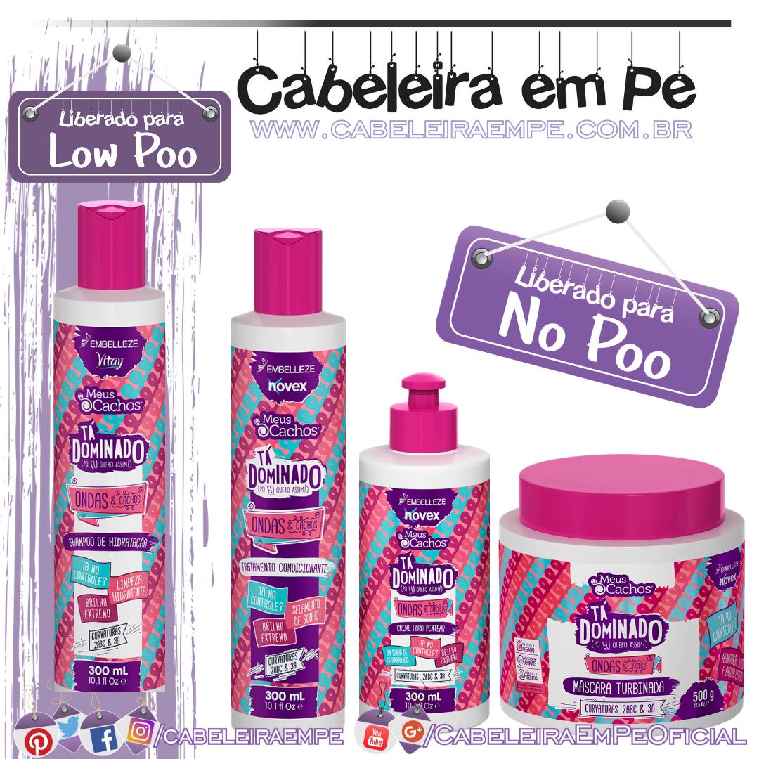 Shampoo (Low Poo), Condicionador, Máscara e Creme para Pentear (Low Poo) Meus Cachos Tá Dominado Ondas e Cachos - Embelleze