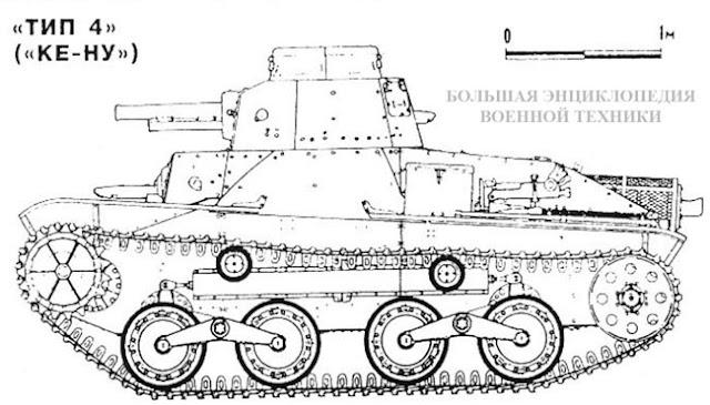 Вид сбоку японского танка «ТИП 4» («КЕ-НУ»)