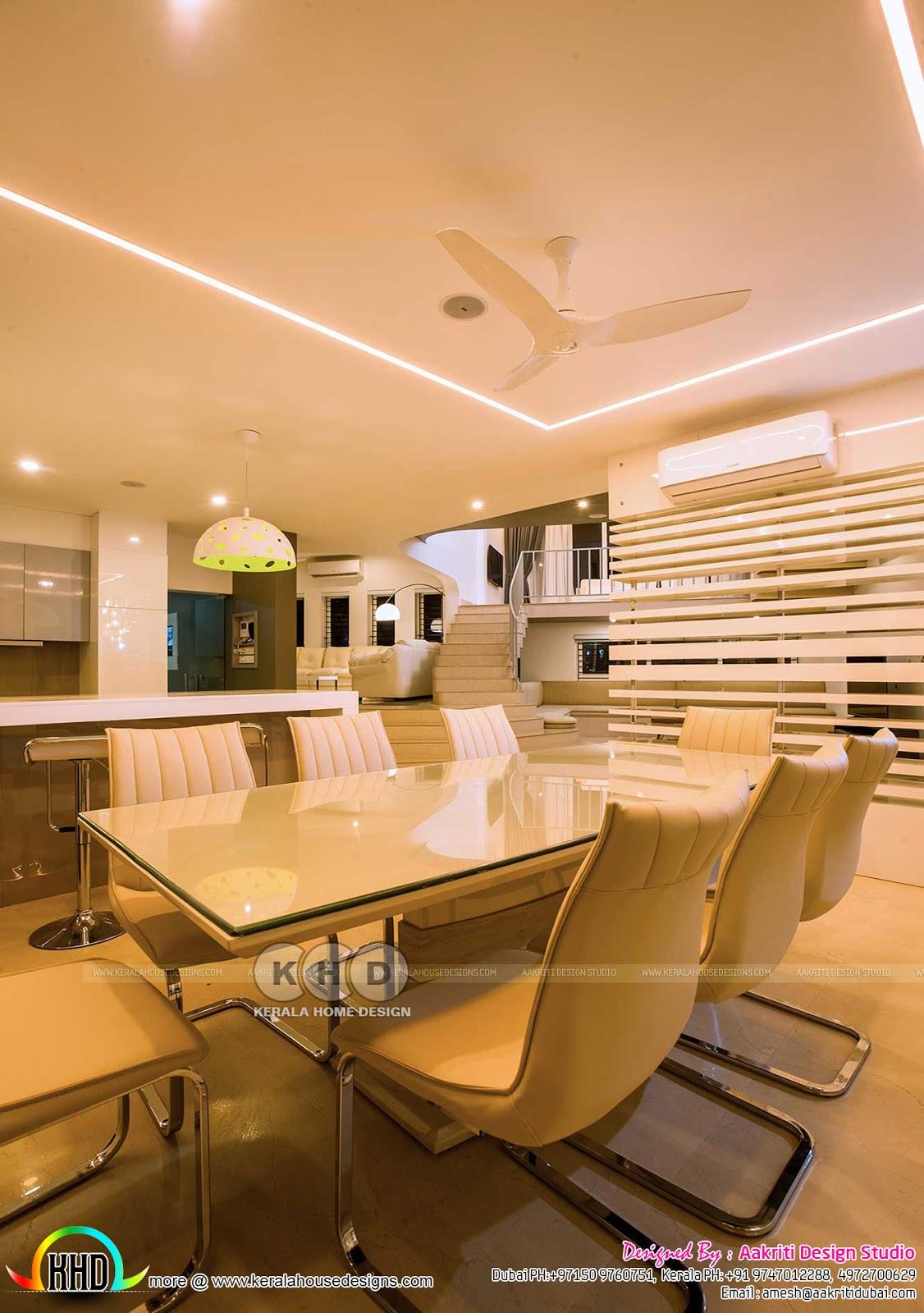 Finished villa interiors designs kerala home design and for Villa interior design photos