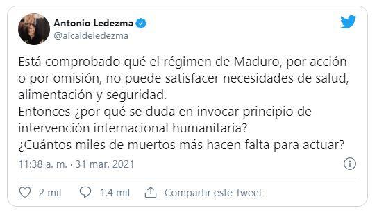 Ledezma pregunta cuántos muertos hacen falta para una Intervención Internacional