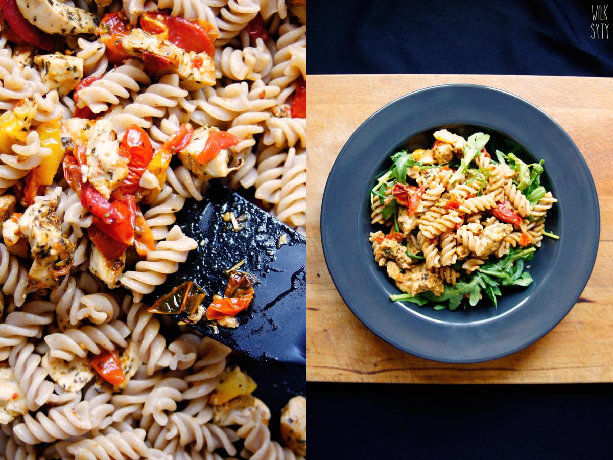 fit makaron, fit obiad, zdrowy obiad, makaron pełnoziarnisty, makaron z kurczakiem i pieczonymi pomidorami