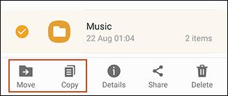 خيار نسخ أو نقل الملفات من USB باستخدام Samsung My Files