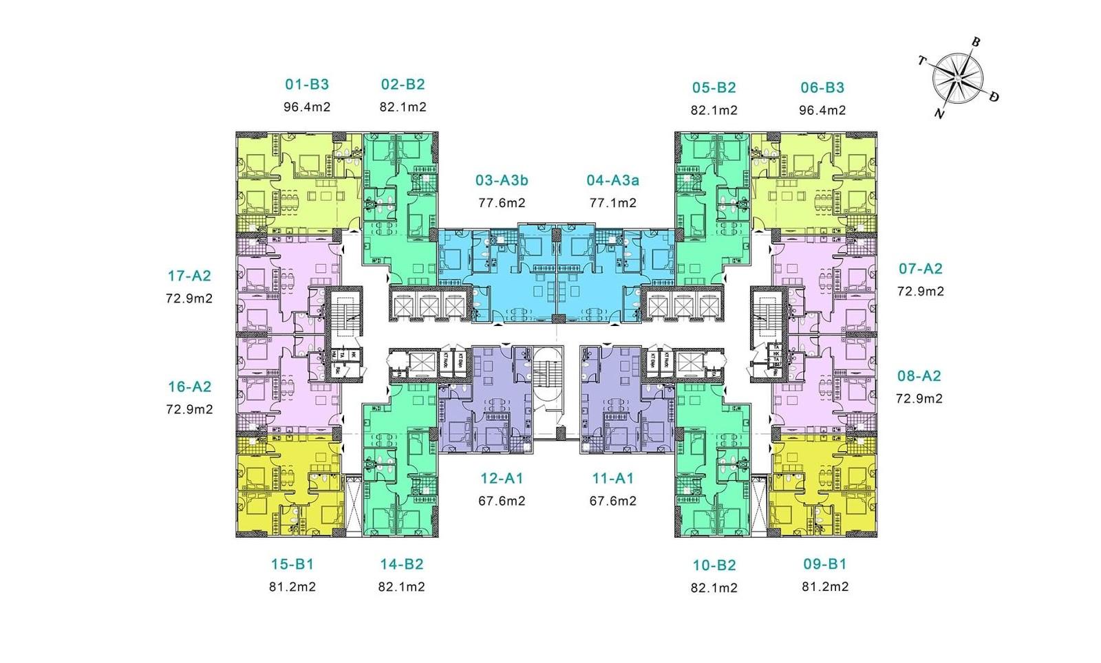 Mặt bằng tầng điển hình dự tòa Park1 và Park 2 - Eurowindow River Park