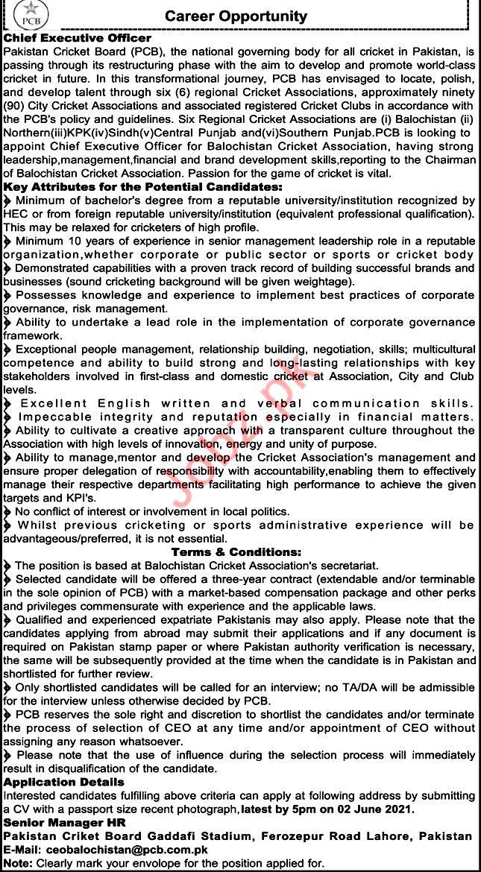 Pakistan Cricket Board PCB Pakistan Latest Jobs For  Executive 2021