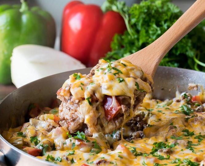 GROUND BEEF STUFFED PEPPER SKILLET #dinner #healthyrecipes #vegan