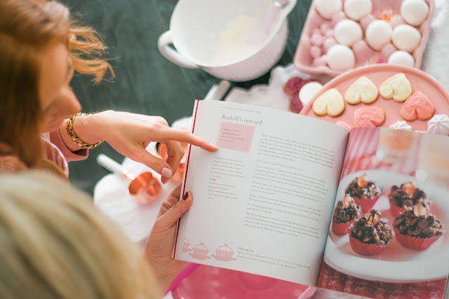 Baking books from HomeSense/ how to throw a Galentine's Day Party