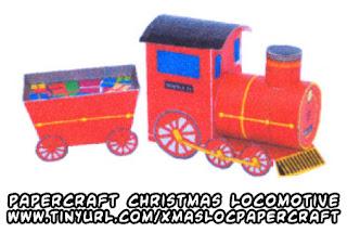 Papercraft imprimible y armable de tren de Navidad con regalos. Manualidades a Raudales.