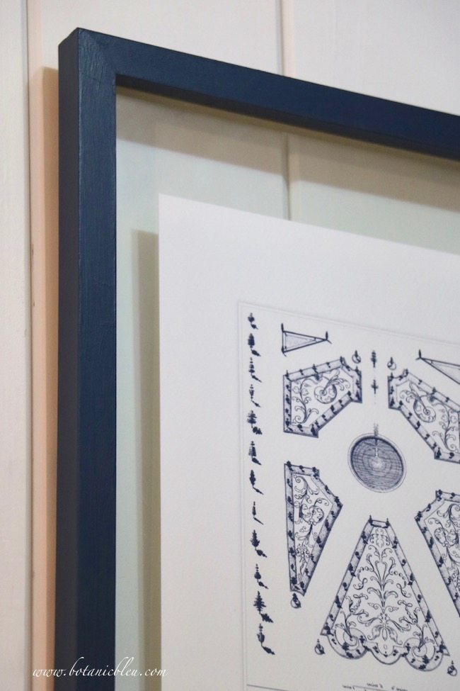 French Country laundry ORC French Style Details of navy vintage French parterre print