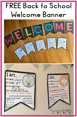 Back to School Activities  for elementary classrooms free welcome banner