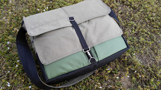 khaki, Black and Green Messenger Bag