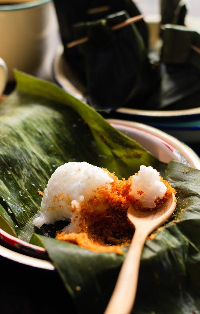 A spoonful of Sticky Rice with Fish Floss | Pulut Sambal photo