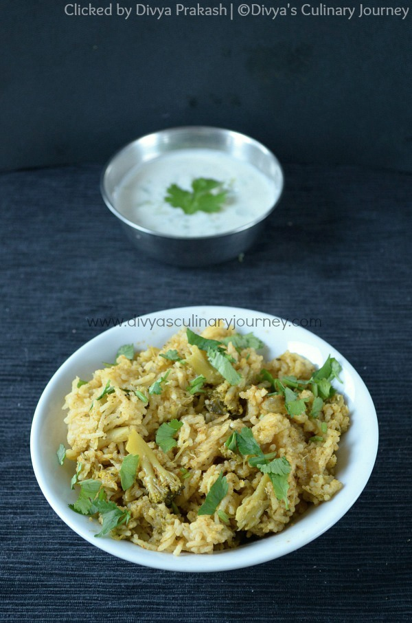 Divyas culinary journey broccoli biryani recipe using pressure broccoli biryani recipe this flavorful broccoli biryani is a one pot meal cooked using pressure cooker forumfinder Gallery