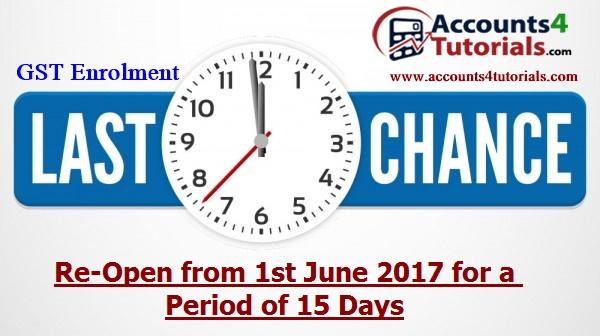 gst enrollment re open from 1st June 2017