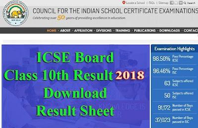 ICSE Board 10th Class Result 2018