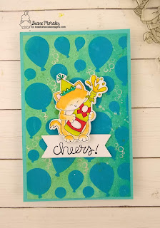 Cheers! a card by Diane Morales| Newton New Year Stamp set by Newton's Nook Designs