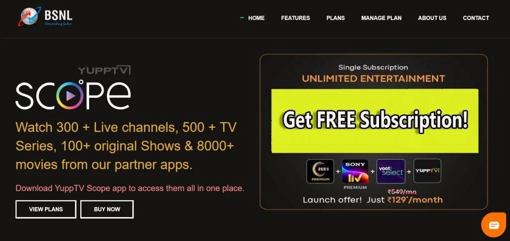 BSNL Cinema plus launch offer