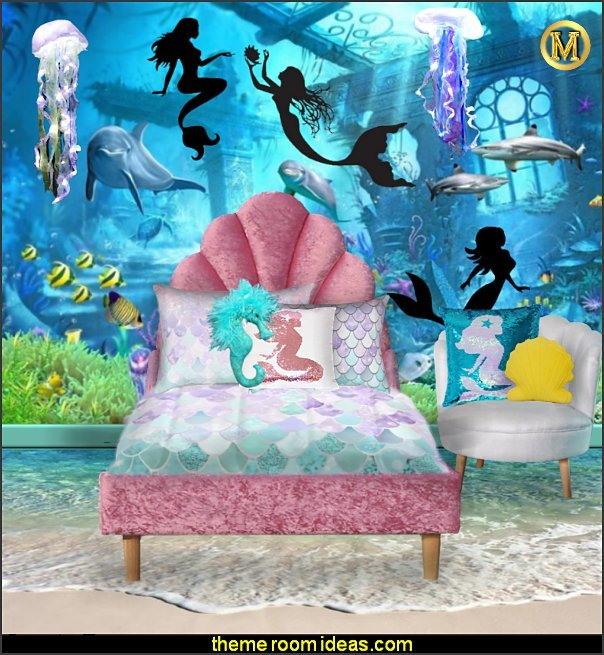 mermaid glitter bedding seashell headboard seahorse pillow mermaid pillows mermaid mural jellyfish lighting ocean floor wallpaper mermaid bedrooms