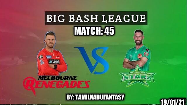 REN VS STA dream 11 cricket Prediction- BBL match 45
