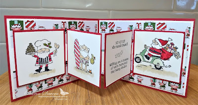 So Santa, So Santa DSP, Fancy Fold, Christmas Cards, Heart of Christmas