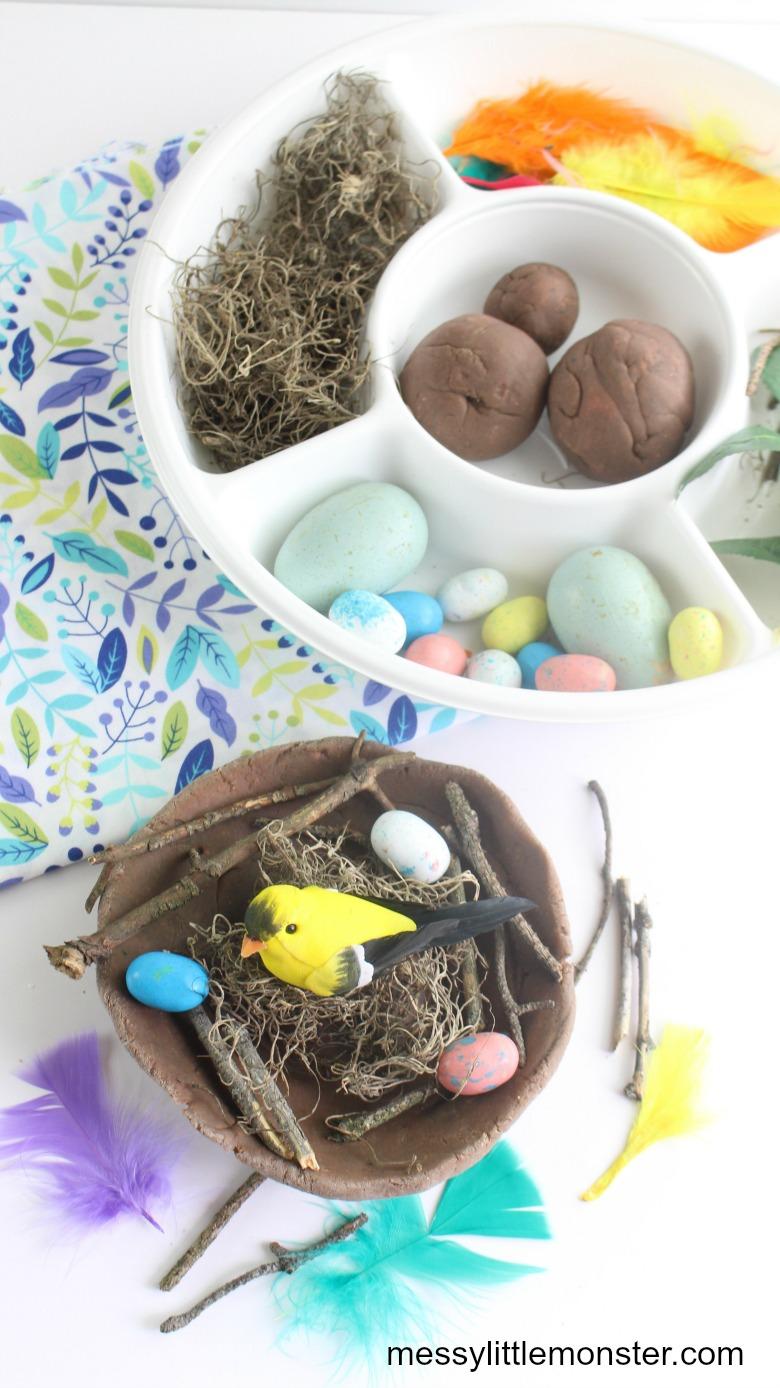Build a bird nest craft. A fun nature craft and playdough activity for kids.