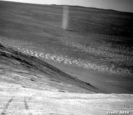 Eerie Image of Martian 'Dust Devil' 3-31-16