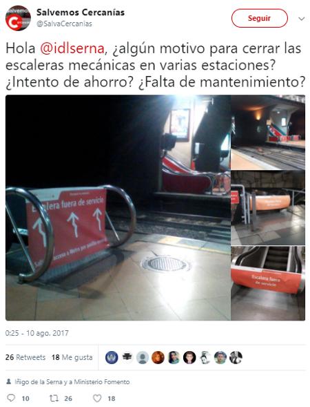 Algún motivo para cerrar las escaleras mecánicas en varias estaciones