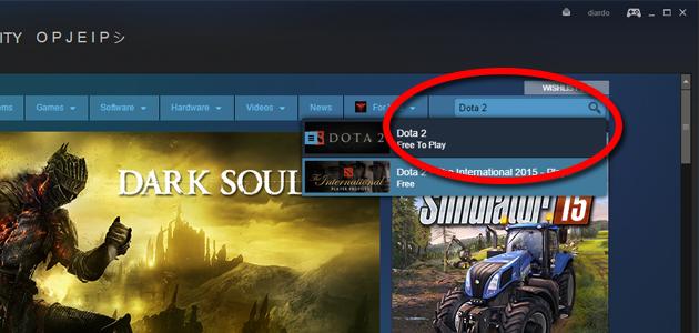 Steam search Dota 2