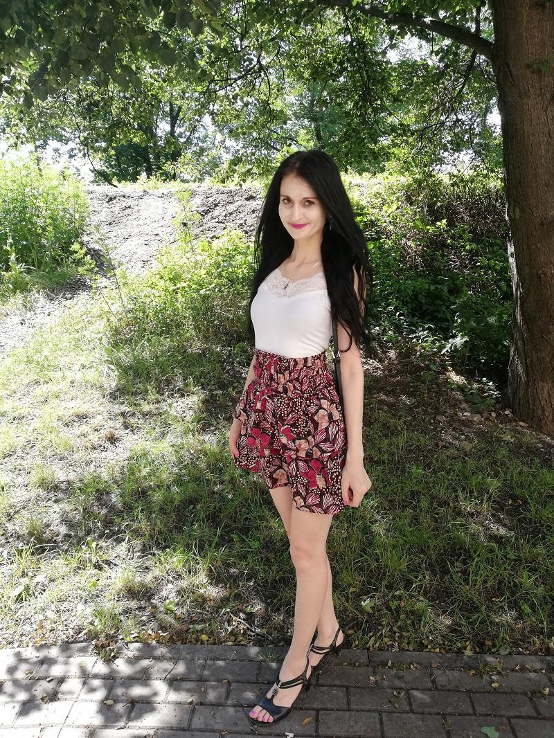 Orsay fioletowa spódniczka w kwiaty