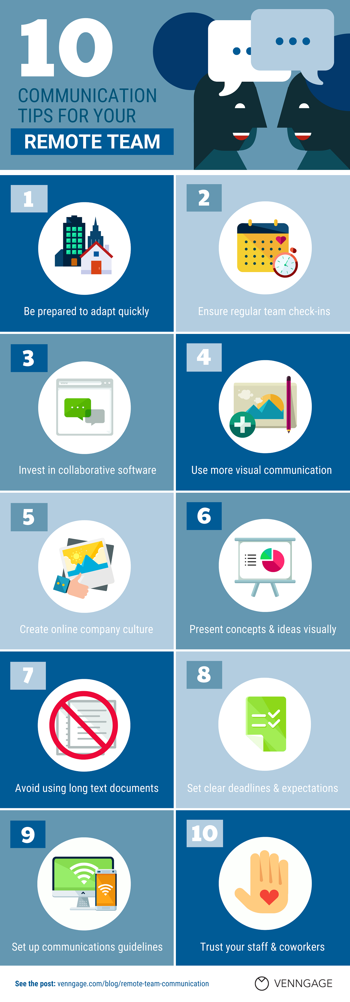 10 Tips for Effective Communication With a Remote Team  #infographic #Remote Team