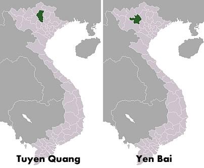 Ubicación en el mapa de las localidades de Tuyen Quang y Yen Bai, lugares en donde esferas metálicas desconocidas impactaron.