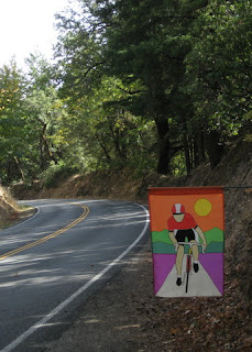 Colorful road cyclist flag along Skyline Road
