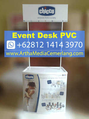 Event Desk PVC Chicco, Meja Promosi Chicco, Meja Portable Chicco - Artha Media Cemerlang