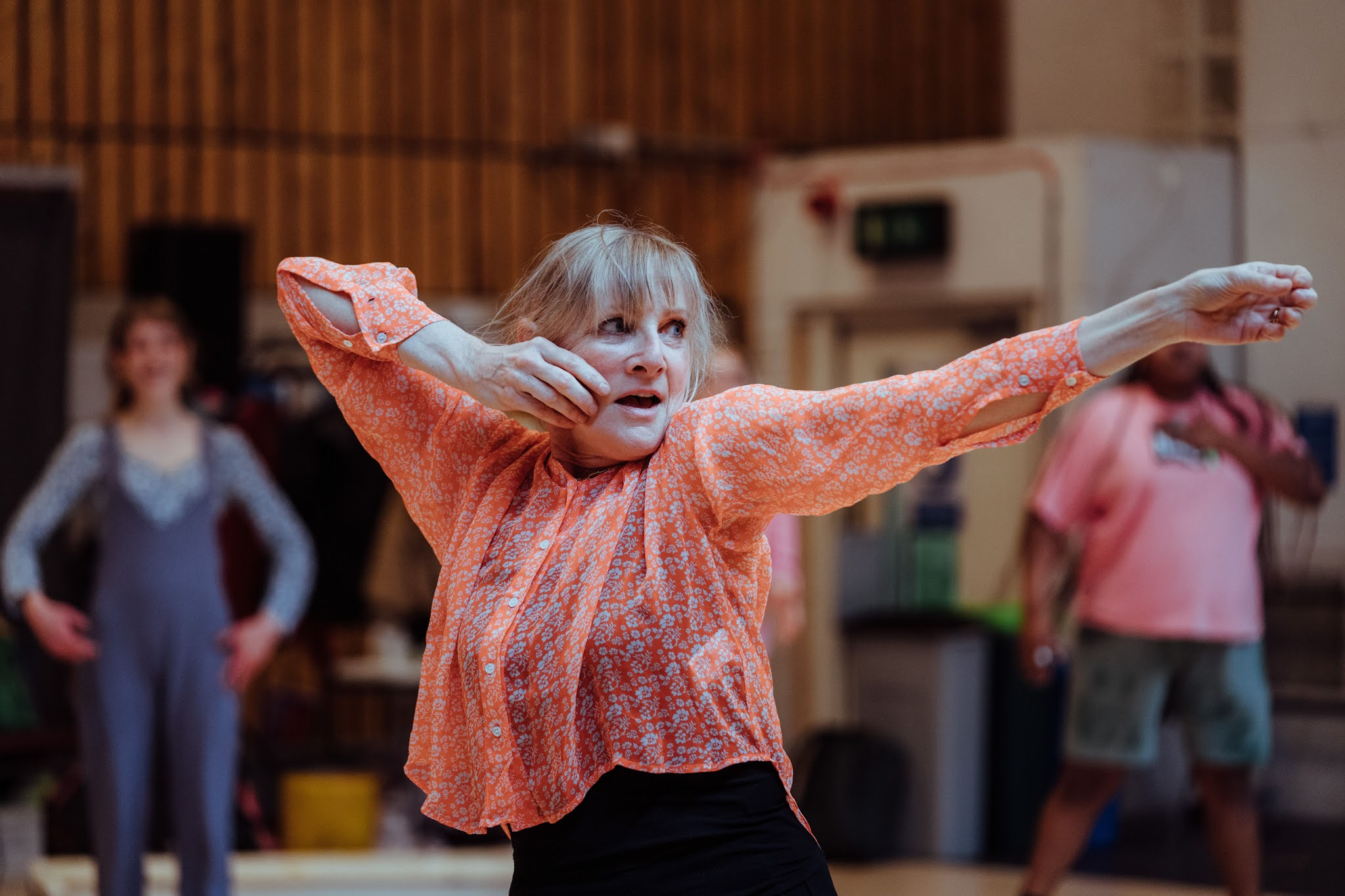 Lesley Sharp (Philoctetes) in rehearsal for Paradise. Photo: Helen Murray