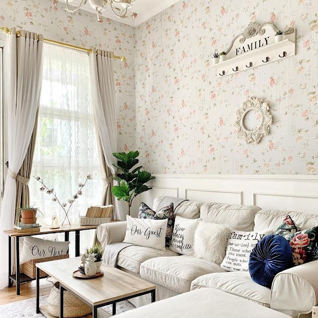 Wallpaper Motif Bunga Untuk Ruang Tamu Sempit