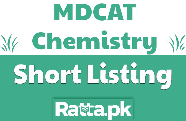 MDCAT Chemistry Short Listing 2021 pdf Download