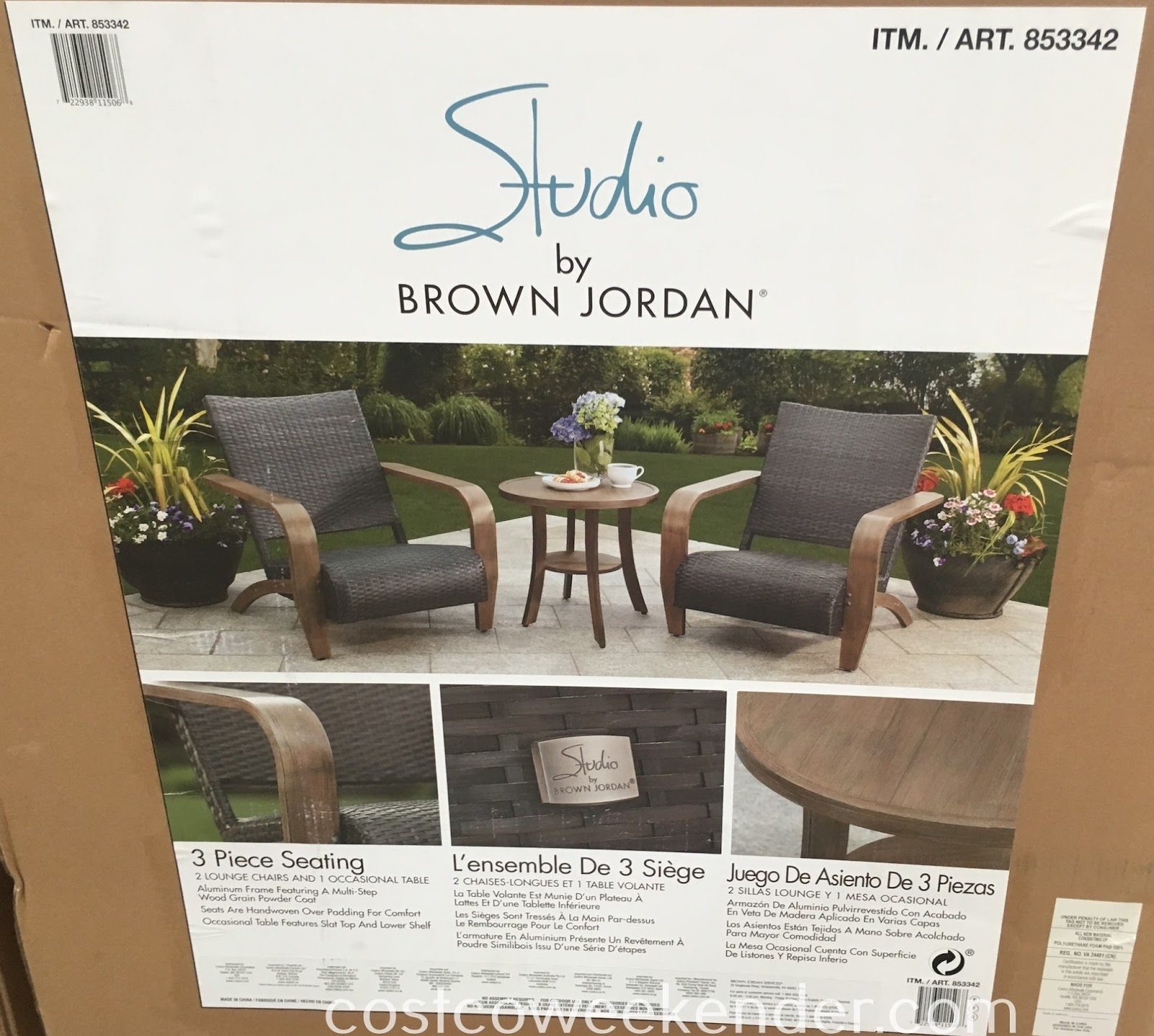 Costco 853342 - Studio by Brown Jordan 3pc Adirdondack Set: great for patio or backyard