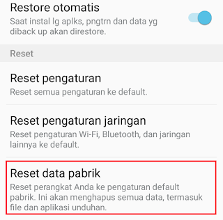 Reset Data Pabrik Samsung Galaxy