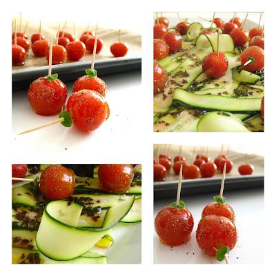 Karamellisierte Kirsch-Tomaten mit schwarzem Pfeffer auf Zucchini-Carpaccio  | Arthurs Tochter kocht. Der Blog für Food, Wine, Travel & Love von Astrid Paul