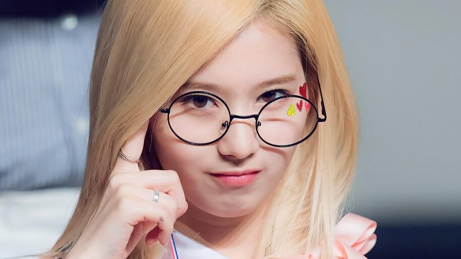 Sana, Blonde, Glasses, K-Pop, Girl, TWICE, 4K, #6.834