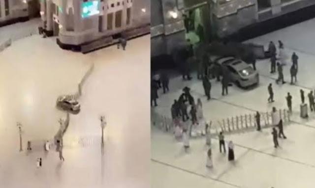عاجل السعودية : بالفيديو سيارة تقتحم ساحات الحرم المكي وتصطدم بإحدى البوابات