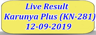 Kerala Lottery Result Today 12/09/2019 Karunya Plus Lottery KN 281