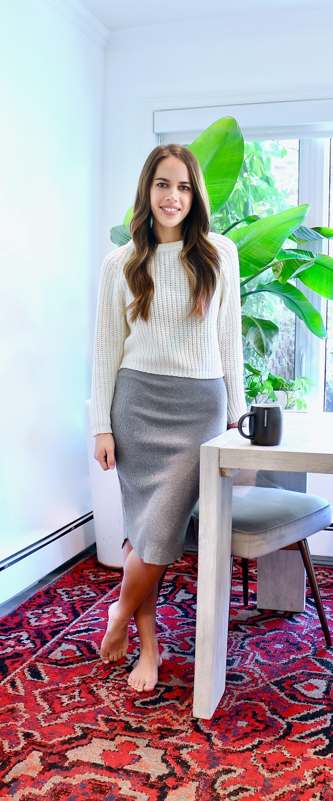 Jules in Flats - Ribbed Midi Dress with Cropped Sweater (Easy Work from Home Outfit).jpeg